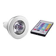 billige Spotlys med LED-3W 150lm E14 / GU10 LED-spotpærer MR16 1 LED perler Høyeffekts-LED Fjernstyrt RGB 85-265V