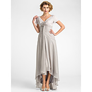 A-Line V Neck Asymmetrical Chiffon / Lace Mother of the Bride Dress with Flower / Pleats by LAN TING BRIDE®