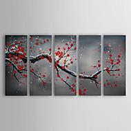 El-Boyalı Çiçek/Botanik Beş Panelli Kanvas Hang-Boyalı Yağlıboya Resim For Ev dekorasyonu