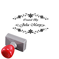 Personalized 33x63mm Wedding & Business Flower Style 2 Lines Rectangle Engraved Photosensitive Signet Stamp(within 10 Letters)