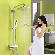 Contemporary Shower System Rain Shower Handshower Included Thermostatic Ceramic Valve Three Holes Two Handles Three Holes Chrome , Shower