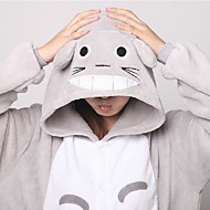 Kigurumi Pyjamas Kat Totoro Heldragtskostumer Pyjamas Kostume Koralfleece Grå Cosplay Til Voksne Nattøj Med Dyr Tegneserie Halloween