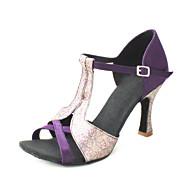 baratos Sapatilhas de Dança-Mulheres Sapatos de Dança Latina / Dança de Salão / Sapatos de Salsa Cetim Sandália Gliter com Brilho / Presilha Salto Personalizado Personalizável Sapatos de Dança Amarelo / Púrpura / Caqui