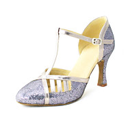 billige Moderne sko-Dame Moderne sko Kunstlær Sandaler Gummi / Spenne Kustomisert hæl Kan spesialtilpasses Dansesko Sølv / Blå / Gull