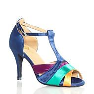 baratos Sapatilhas de Dança-Mulheres Sapatos de Dança Latina Seda Sandália Recortes Salto Agulha Personalizável Sapatos de Dança Verde  / amarelo / Espetáculo