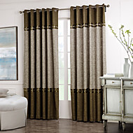 billige Gardiner-Stanglomme Propp Topp Fane Top Dobbelt Plissert To paneler Window Treatment Neoklassisk Ensfarget Stue Polyester Materiale gardiner