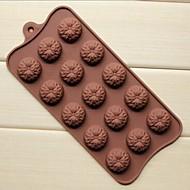 15 hullers solsikke form kage is gelé chokolade forme, silikone 22 × 10,5 × 1,5 cm (8,7 × 4,1 × 0,6 tommer)