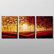 Handgeschilderde Landschap Drie panelen Canvas Hang-geschilderd olieverfschilderij For Huisdecoratie