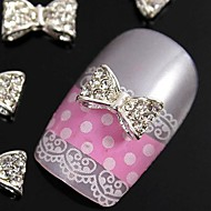 10pcs  3D Glitting Rhinestone Bow Tie  DIY Alloy Accessories For Finger Tips Nail Art Decoration
