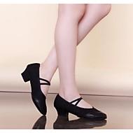 billige Ballettsko-Dame Moderne sko / Ballett Lær / Lerret Flate Flat hæl Kan ikke spesialtilpasses Dansesko Svart / Rød