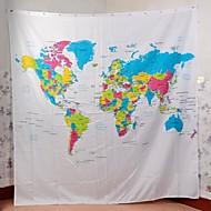 """vina """"ο χάρτης του κόσμου"""" δημιουργική κουρτίνα του ντους μπάνιο ευρωπαϊκό στυλ ντάκρον - άσπρο + μπλε"""