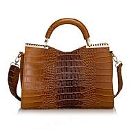 blkl mode krokodille mønster laklæder håndtaske håndtaske (brun)