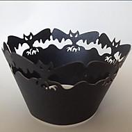 billige Bakeredskap-halloween flaggermus muffin svøper, laser skjæring, fest gave dekorasjon 60-pakning