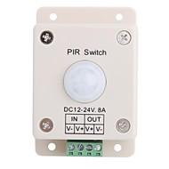 billige Lysbrytere-8a 1-kanals menneskekroppen pir induksjon bryter for LED strip lampe (DC 12V-24V)