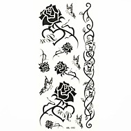 Waterproof Black Rose Temporary Tattoo Sticker Tattoos Sample Mold for Body Art (18.5cm*8.5cm)