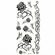 impermeabil negru a crescut temporar autocolant tatuaj tatuaje proba mucegai pentru body art (18.5cm * 8.5cm)