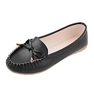 cheap Women's Flats-Women's Shoes Leatherette Spring Summer Comfort Flat Heel Crystal for Casual Black White Pink
