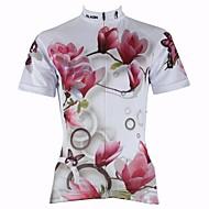 hesapli -ILPALADINO Kadın's Kısa Kollu Bisiklet Forması - Beyaz Çiçek / Botanik Bisiklet Forma, Hızlı Kuruma, Ultravioleye Karşı Dayanıklı, Nefes