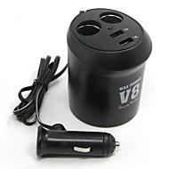 billiga Billaddare för mobilen-tirol nya 12v 2-vägs mugghållare auto-adapter med 2usb billaddare 5v / 2a splitter makt