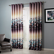 billige Forede Gardiner-Stanglomme Propp Topp Fane Top Dobbelt Plissert To paneler Window Treatment Land , Trykk Soverom Polyester Materiale Blackout Gardiner