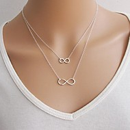 Women's Lariat Floating Mother Daughter Pendant Necklace Layered Necklace Infinity Ladies European Double-layer Fashion Gold Silver Necklace Jewelry 1pc For Special Occasion Birthday Gift