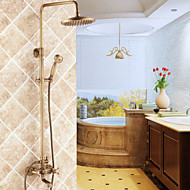 Traditional Shower System Ceramic Valve Three Holes Two Handles Three Holes for  Antique Brass