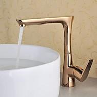 cheap Bathroom Sink Faucets-Antique Centerset Rotatable Ceramic Valve One Hole Single Handle One Hole Rose Gold , Bathroom Sink Faucet