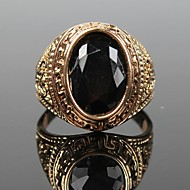 Men's Solitaire Oval Cut Statement Ring Signet Ring Vintage Fashion Ring Jewelry Gold / Black For Christmas Gifts Party Daily Casual 7 / 8 / 9 / 10