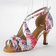 Damen Schuhe für den lateinamerikanischen Tanz Satin Sandalen Stöckelabsatz Keine Maßfertigung möglich Tanzschuhe Rosa / Leder
