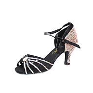 "Women's Latin Ballroom Satin Heel Rhinestone Buckle Stiletto Heel Bronze Black 3"" - 3 3/4"" Non Customizable"