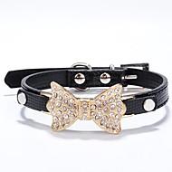 חתולים / כלבים קולרים אבן נוצצת Red / Black / כחול / ורוד / Gold / Silver / ורד PU עור