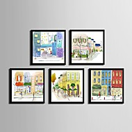 cheap Framed Arts-Framed Canvas / Framed Set - Architecture PVC Illustration