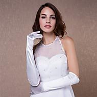 abordables Gants de Mariage-Satin Coton Longueur Poignet Longueur Coude Gant Charme Elégant Gants de Mariée With Broderie Couleur Unie