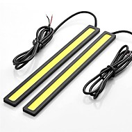 2pçs 17 centímetros 6w 600-700lm luz de circulação diurna cor amarela alta potência cob DRL impermeável luz IP68 (12v)