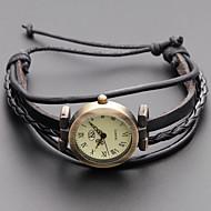 Dame Armbåndsur Japansk Afslappet Ur Ægte læder Bånd Vintage / Bohemisk / Mode Sort / Kaki / Et år / SSUO SR626SW