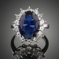 نسائي أزرق ياقوتي كريستال ياقوت إصطناعي HALO متصنع خاتم البيان مكعبات زركونيا سبيكة سيدات موضة مضفر خواتم مجوهرات أزرق داكن من أجل