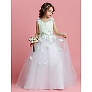 Vestido de menina de flor com trenagem de linha a linha / pincel - Bolo de jóias sem mangas de tul por lan ting bride®