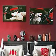 cheap Canvas Prints-Personalized E-HOME® Canvas Print The Woman 35x50cm 40x60cm 50x70cm Framed Canvas Painting Set of 2