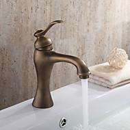 お買い得  アンティークブラス Series-伝統風 センターセット 回転可 with  セラミックバルブ 一つ シングルハンドルつの穴 for  アンティーク真鍮 , バスルームのシンクの蛇口