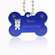 cheap Customized Novelties-Personalized Gift Bone Shape Silver Pet Id Name Tag with Chain for Dogs