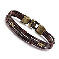 cheap -Men's Zodiac Wrap Bracelet Leather Bracelet - Leather, Titanium Steel Personalized, Vintage, Hip-Hop Bracelet Jewelry Silver / Bronze For Daily Casual Sports