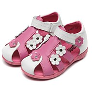 cheap Baby Shoes-Girls' Shoes Calf Hair Summer Slingback Comfort Flats Rivet Hook & Loop Magic Tape Flower for Athletic Casual Outdoor White Pink