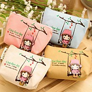 Swing Girl Canvas Change Purse(Random Color)