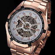 FORSINING® Men's Hollow Automatic Mechanical Rose Gold Steel Band Wrist Watch Cool Watch Unique Watch