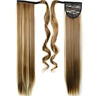 בלונד ישר קוקו סינטטי חתיכת שיער הַאֲרָכַת שֵׂעָר