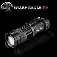 SHARP EAGLE LED懐中電灯 LED 500LM lm モード Cree XR-E Q5 ズーム可能 耐衝撃性 滑り止めグリップ 充電式 防水 ストライクベゼル クリップ スマールサイズ ポケット キャンプ/ハイキング/ケイビング 日常使用 サイクリング 釣り