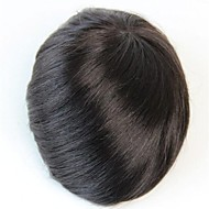 8x6 Natural Black #1B Men's Toupee Human Hair Wig Hairstyle Replacement