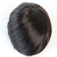 8x6 doğal siyah # 1b erkek peruk insan saçı peruk saç değiştirme