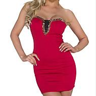 Dámské Sexy Klub Bodycon Šaty Jednobarevné,Bez rukávů Bez ramínek Mini Celý rok Mid Rise Lehce elastické Neprůhledné