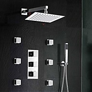 "Brass Thermostatic Shower Valve Stainless Steel 8""Rain Bathroom Shower Faucet Spa Body Massage Spray Jets"